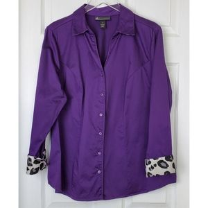 Lane Bryant Button  animal print details blouse